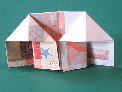 Ein geld haus bauen basteln gestalten - Geldgeschenk haus basteln ...