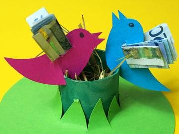 Geldschein falten vogel