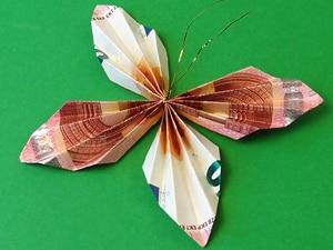 Geldgeschenke als Schmetterlinge