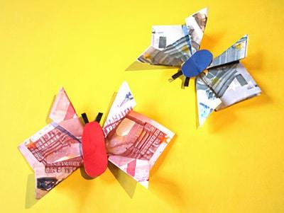 Schmetterlinge für Geldgeschenke falten
