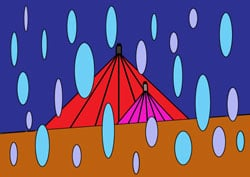 Malvorlage - April Regen