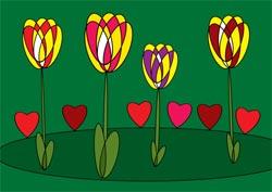Blumen mit Herzen