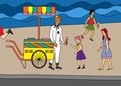 Eismann am Strand