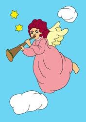 Malvorlage Engel mit Trompete