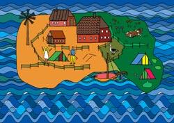 Malvorlage Ferieninsel