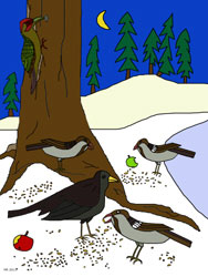 Malvorlage - Tiere im Winter