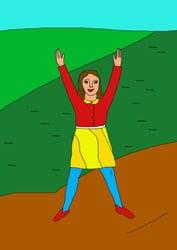 Ausmalbilder Ein Mädchen beim Spielen