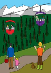 Ausmalbilder - Ferien in den Bergen