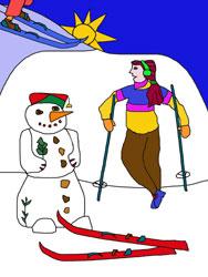 Malvorlage Skifahren