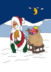 Malvorlage Weihnachtsmann mit Schlitten