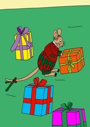 Malvorlage Maus mit Geschenken