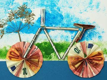 modell fahrrad aus metall geldbote f r geldgeschenke pro. Black Bedroom Furniture Sets. Home Design Ideas