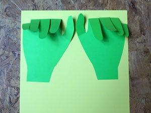 Hände aufkleben