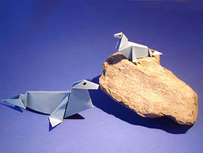 origami falten ein seehund basteln gestalten. Black Bedroom Furniture Sets. Home Design Ideas
